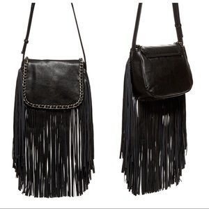 Carlos Santana chain/ fringe crossbody flap bag